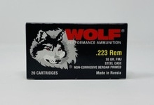 Wolf 223 Rem Ammunition 55 Grain Full Metal Jacket 20 Rounds