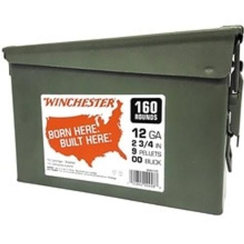 """Winchester 12 Gauge Ammunition WW12C 2-3/4"""" 00Buck 9 Pellets 1325fps Can 160 Rounds"""