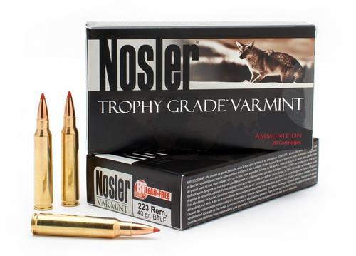 Nosler 223 Rem Ammunition 60007 Trophy Grade Varmint 40 Grain Frangible Ballistic Tip Lead Free 20 Rounds