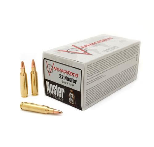 Nosler 22 Nosler Ammunition 65180 Varmageddon 62 Grain Hollow Point 50 Rounds