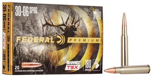 Federal 30-06 Ammunition P3006AE 180 Grain Barnes Triple-Shock X Hollow Point 20 Rounds