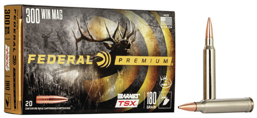 Federal 300 Win Mag Ammunition P300WP 180 Grain Barnes Triple-Shock X Hollow Point 20 Rounds