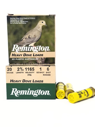 "Remington 20 Gauge Ammunition Heavy Dove Load RHD206 2-3/4"" 6 Shot 1oz 1165fps Case of 250 Rounds"