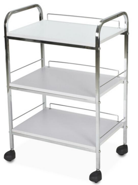 SPA SOURCE LLC TL 815 Trolley, AYC Baylor Beauty Trolley, SKU DON TRLY 2703 WH, salon trolley, beauty trolley, spa trolley, three shelves trolley, trolley with wheels, trolley with four caster wheels, spa equipment, medical trolley,