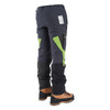 Grey/Green Zero chainsaw pants back angle view