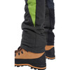 Grey/Green Zero chainsaw pants back lower leg view