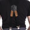 Black and orange logo clip on rear view