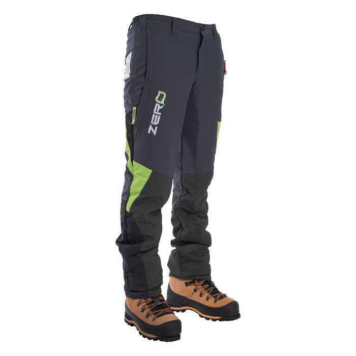Grey/Green Zero chainsaw pants front angle view
