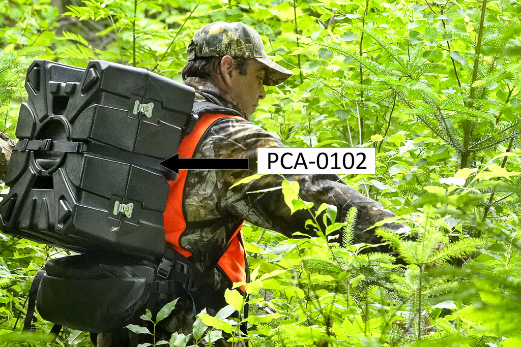 This case can attach to the Portable Winch PCA-0104 molded pack frame.