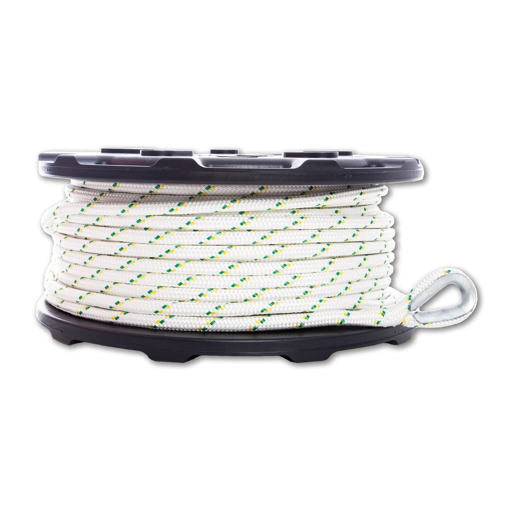 Portable Winch PCA-1213M2ESC Double Braid Polyester Rope 12mm x 100M with eye splices and thimbles