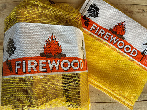 0.75 CF 18x25 Mesh Firewood Bag - YELLOW