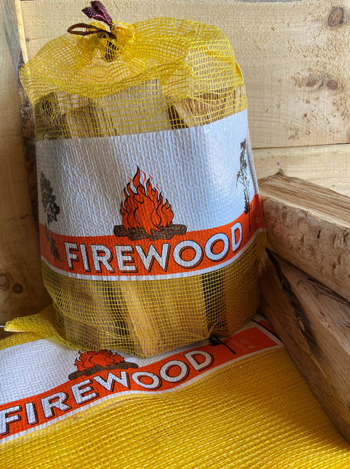 0.75 CF 18x25 Mesh Firewood Bag - YELLOW