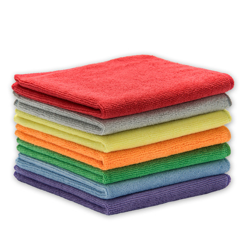 Microfiber Towels 50 Pack 14x14, shown in a stack with one of each color