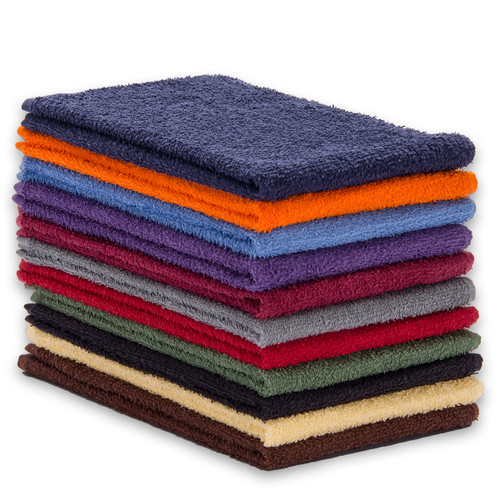 Cotton Terry Towels 15x25 Lightweight, shown in 11 colors