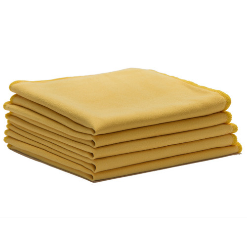 Suede Microfiber Cloths 14x14 Yellow, shown in a stack of five