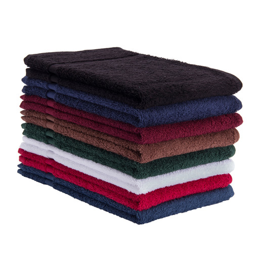 Premium Cotton Terry Towels 16x27 Heavyweight, shown in a stack with one of each color