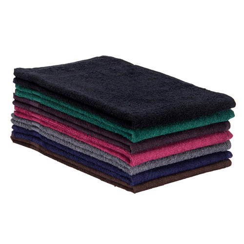 Bleach Resistant Cotton Terry Towels 16x27, shown in a stack with one of each color