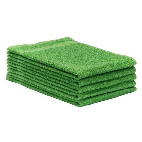 Cotton Terry Towels 16x27 Medium Weight Lime Green, shown in a stack of five