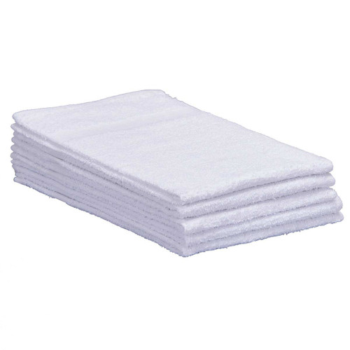 Cotton Terry Towels 15x25 Lightweight White, shown in a stack of five
