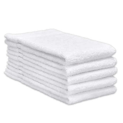 Cotton Terry Towels 16x30 Heavyweight White, shown in a stack of five