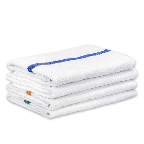 Cotton Terry Bath Towels 22x44, shown in a stack with one of each color