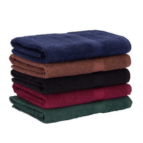 Cotton Terry Bath Towels 25x52. shown in a stack with one of each color