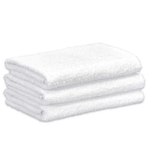 Cotton Terry Bath Towels 20x40 White, shown in a stack of three