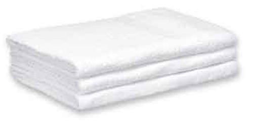 Cotton Terry Bath Towels 24x50 White, shown in a stack of three