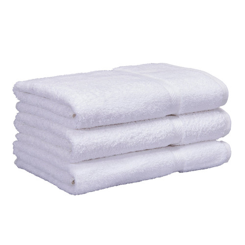 Cotton Terry Bath Towels 25x52 White, shown in a stack of three