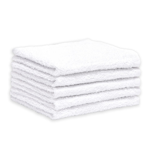 Cotton Terry Bar Towels 14x16 Heavyweight White, shown in a stack of five