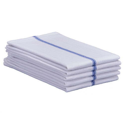 Cotton Herringbone Towels New White with Blue Stripe, shown in a stack of five