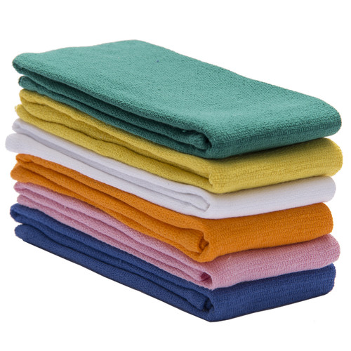 Huck Towels 100% Cotton Towel New, shown in a stack with one of each color