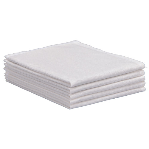 Cotton Huck Towels 12x12 New White, shown in a stack of five