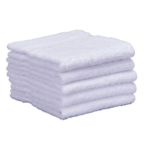 Cotton Terry Washcloths 13x13 New White, shown in a stack of five