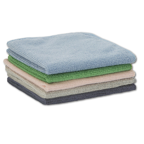 Microfiber Towels 50 Pack 12x12, in a stack with one of each color