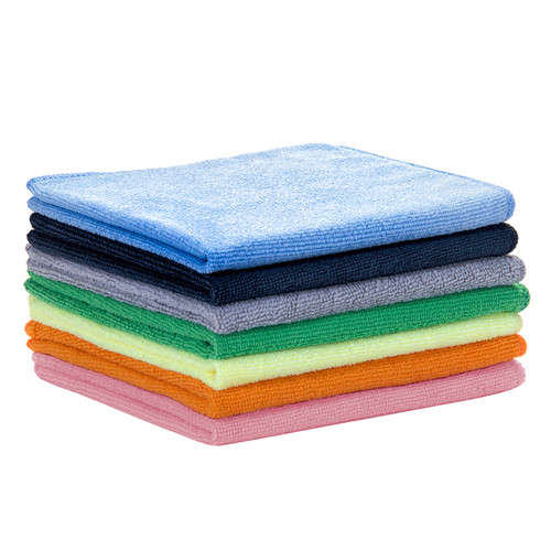 Microfiber Towels 16x16 Bulk 50 Packs, shown in a stack with one of each color