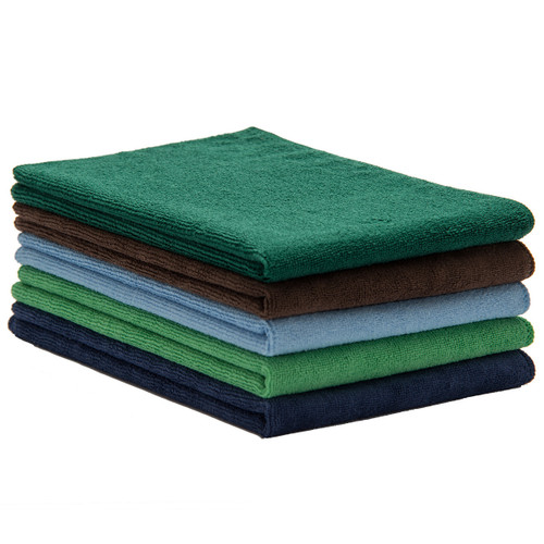 Bulk 16x24 Microfiber Towel 50 Packs, shown in a stack with one of each color