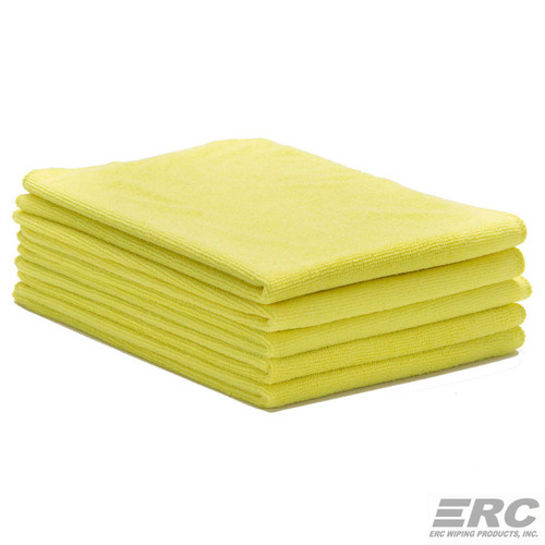 Microfiber Towels 16x24 Bulk 50 Pack Lightweight Yellow, shown in a stack of five