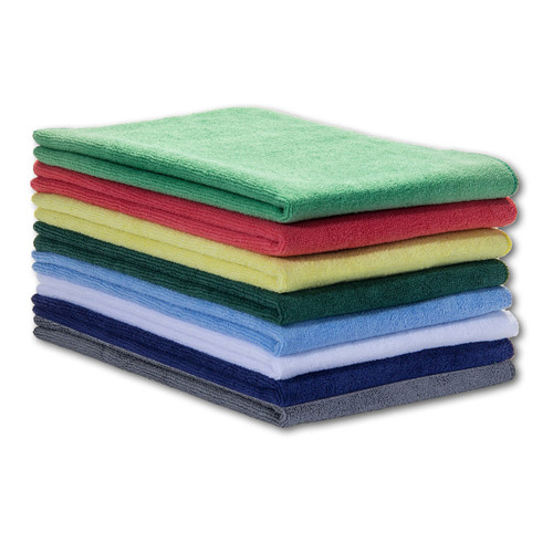 Microfiber Towels 16x27 shown in a stack with one of each color