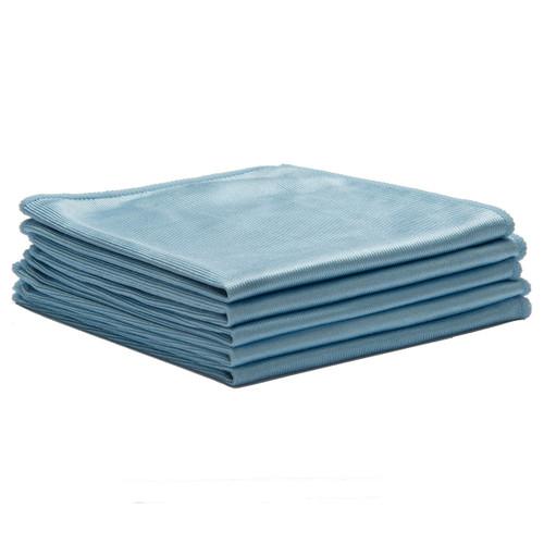 Microfiber Cloths Glass 16x16 Blue bulk 50 pack , shown in a stack of five