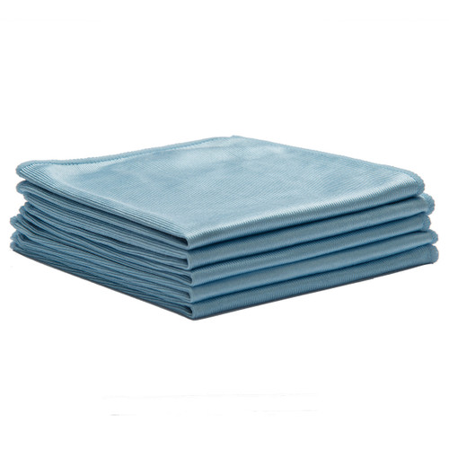 Microfiber Cloths Glass 16x16 Blue bulk 50 pack , shown in a stack of five