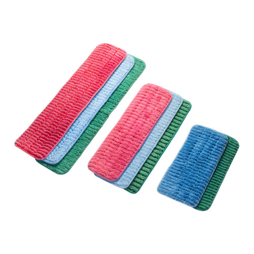 Microfiber Mop Pads Scrubbing, shown flat with all color and size options