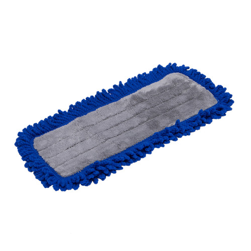 Microfiber Fringe Dust Mop Pads with Velcro Back, shown flat