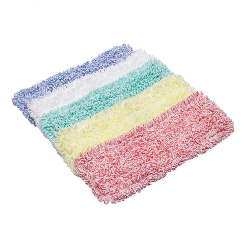 Microfiber Pocket Mop Pads 18 Inch, shown flat with one of each color
