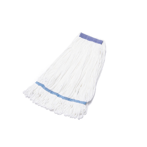 Microfiber String Mops 4.5 Inch Band White, shown flat