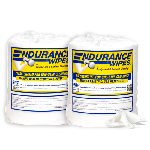 Endurance Gym Wipes 2 Roll or 4 Roll Case, shown in a pack of two, 900 wipes per roll