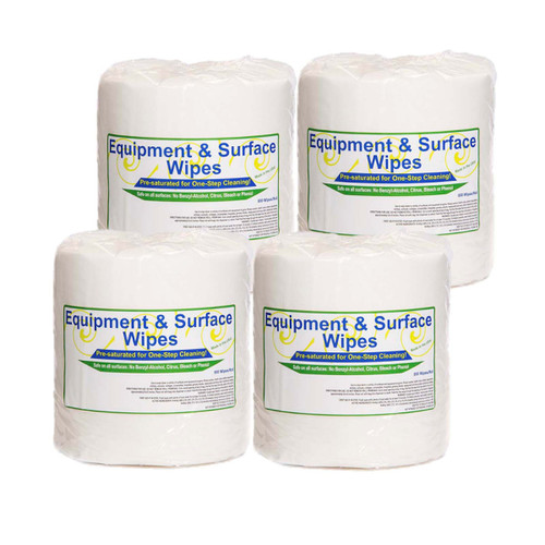 Private Label Fitness Equipment And Surface Wipes 4 Rolls, shown in a pack of four