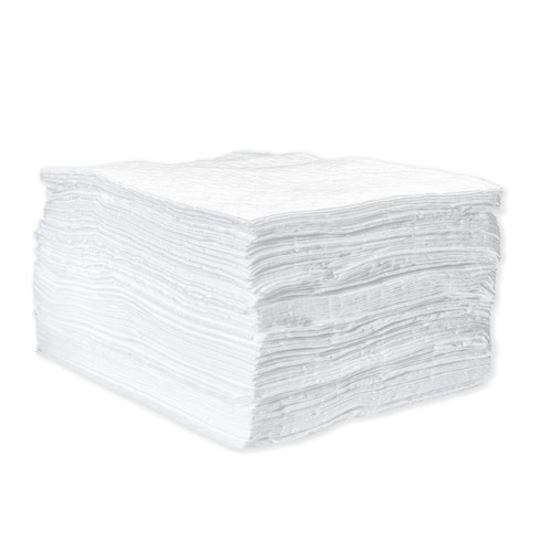 Oil Only Absorbent Pads 15x18 Lightweight White 200 Count, shown in a stack