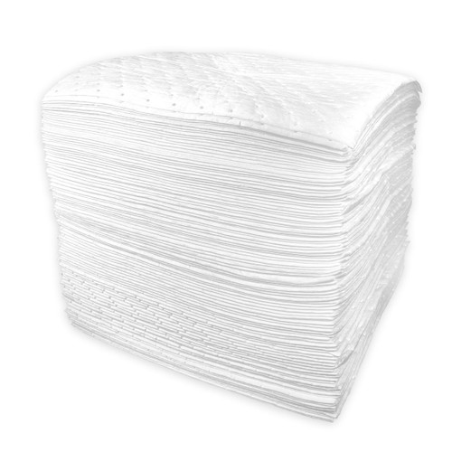 Oil Only Absorbent Pads 15x18 Heavyweight White, shown in a stack