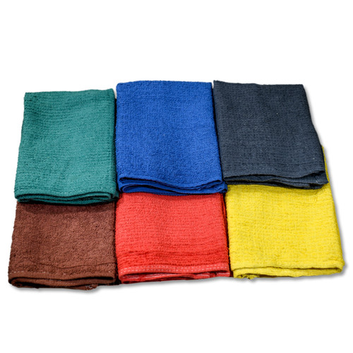 Bulk Bar Towels 100% Cotton Terry Cleaning Rag 16x19 Solid Colors.
